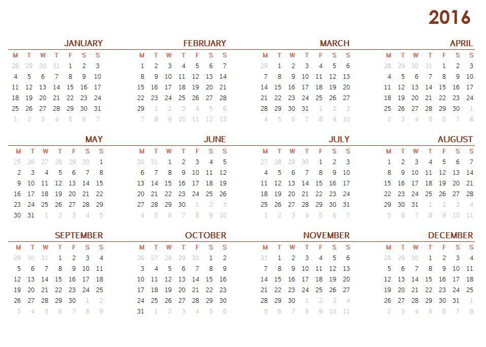 2016 Printable Calendar One Page 2016 Calendar Printable One Page