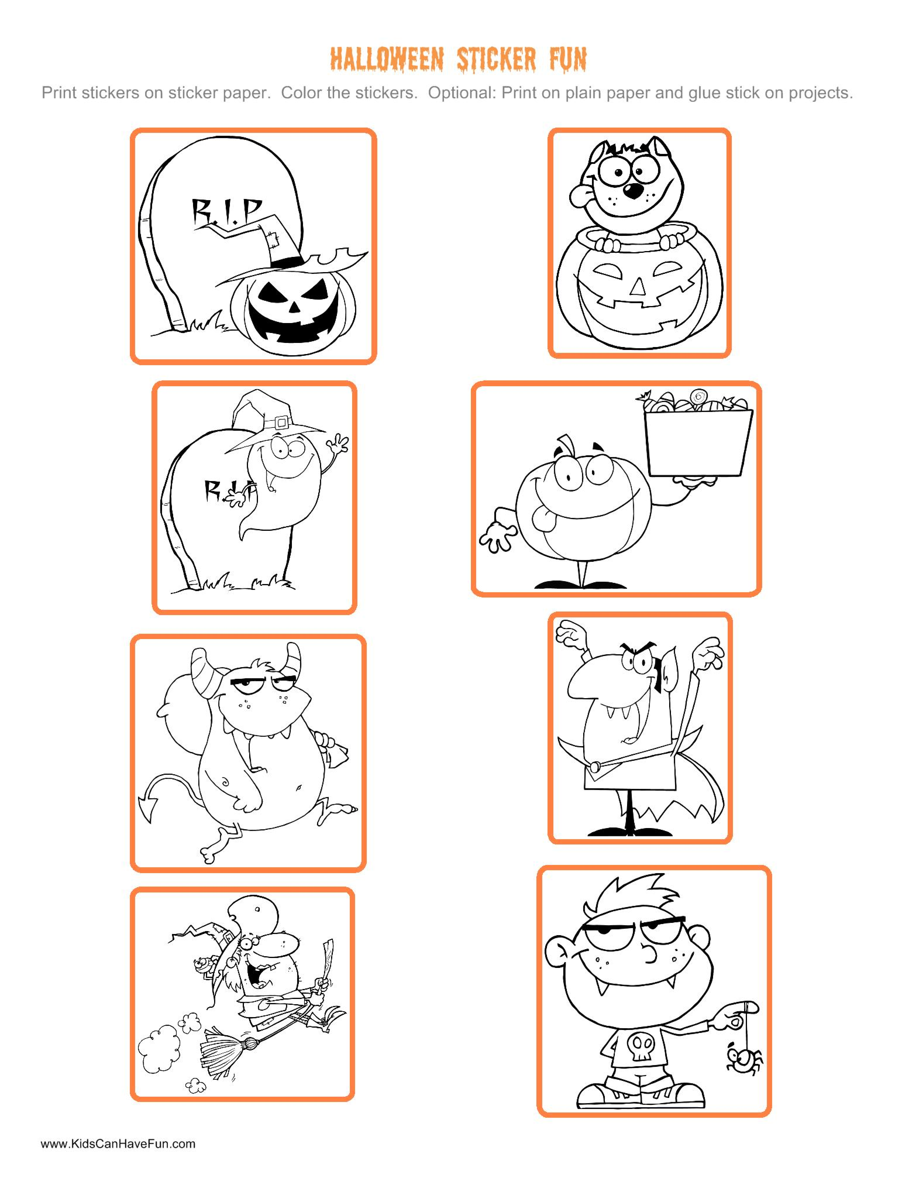 Halloween Stickers To Color And Paste