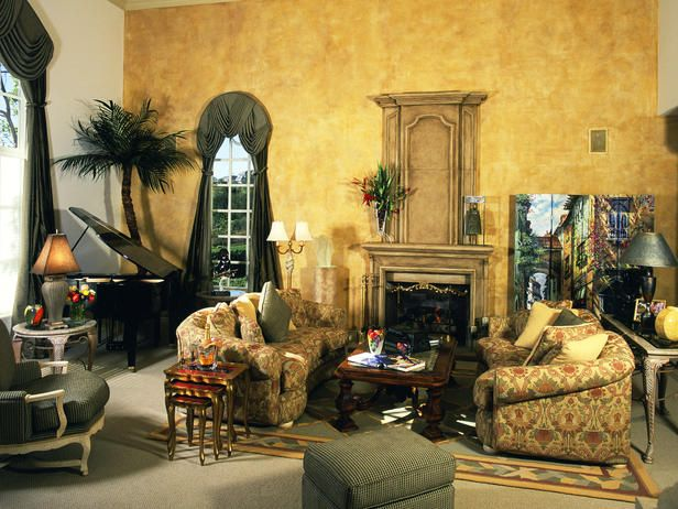 This Tuscan living room with a European flair encompasses a ...