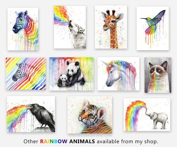 Hummingbird Art Print, Rainbow Watercolor Painting, Rainbow ...