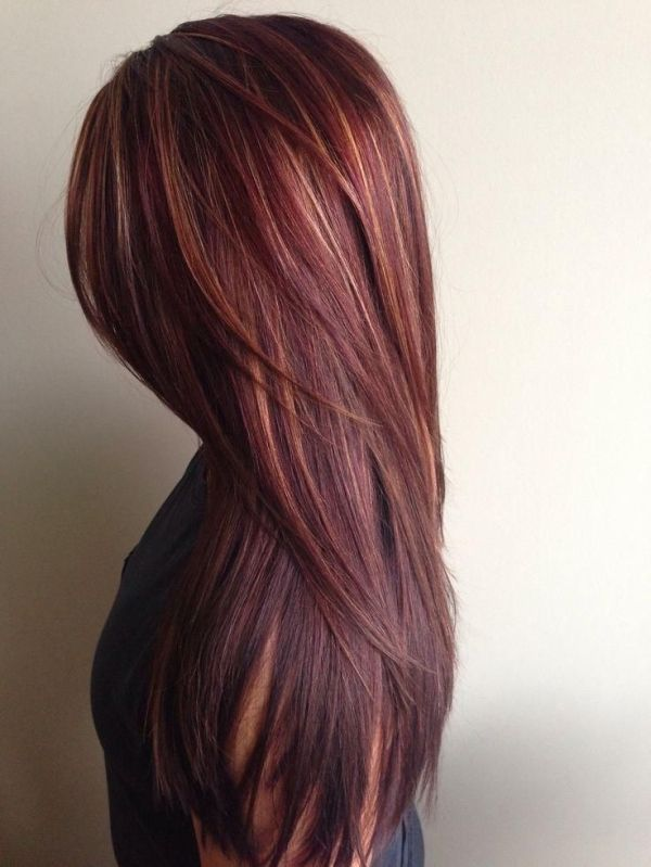 chocolate brown hair with caramel and red highlights ...