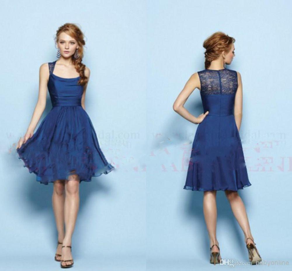 simple bleu marine robe de demoiselle d 39 honneur longueur genou un ligne de atigrada casamento. Black Bedroom Furniture Sets. Home Design Ideas