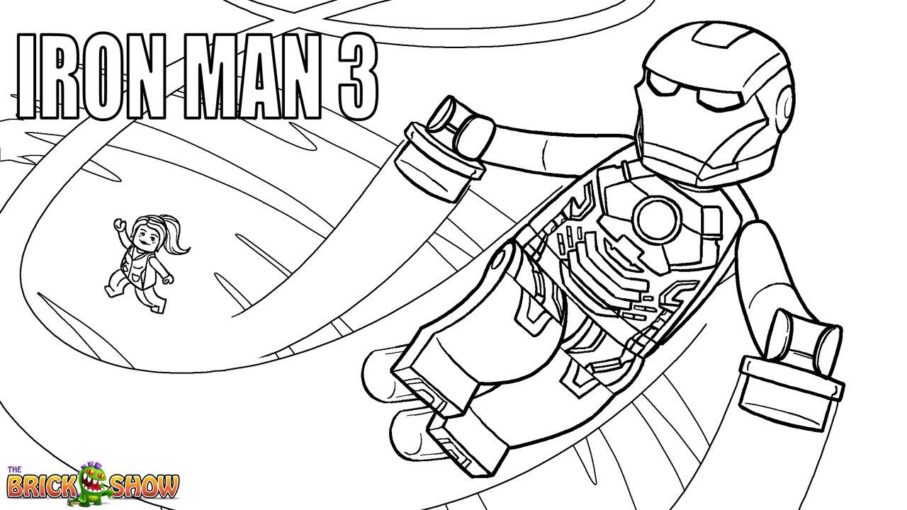 LEGO Marvel Super Heroes Coloring Page Iron Man 3 Printable Color Sheet
