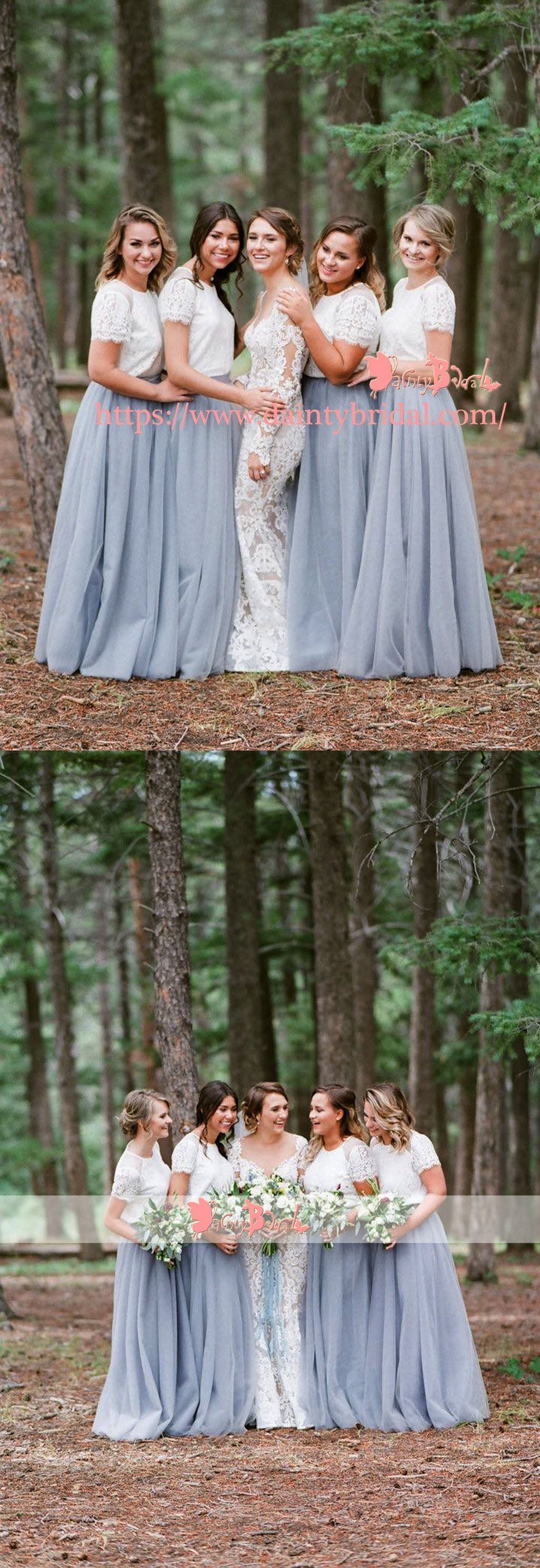 1d1d1bf3b194 Off White Lace Top Grey Tulle Popular Two Piece Bridesmaid Dresses With Short  Sleeves,DB112