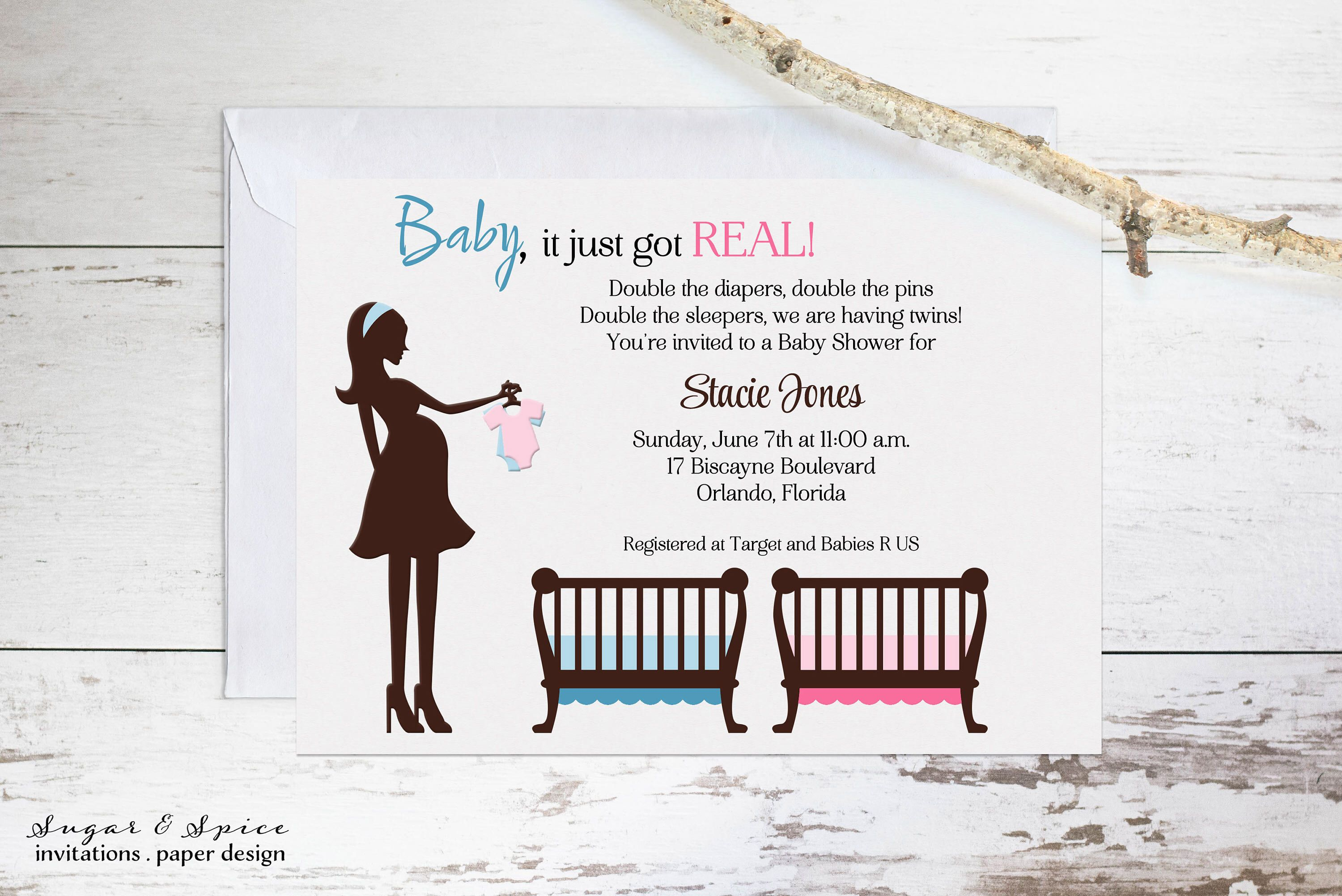 Twins Baby Shower Invitation Boy or Girl Baby Shower Invitation