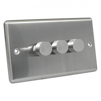 Excel Brushed Steel 3 Gang 2 Way 40400W Push Dimmer Light Switch