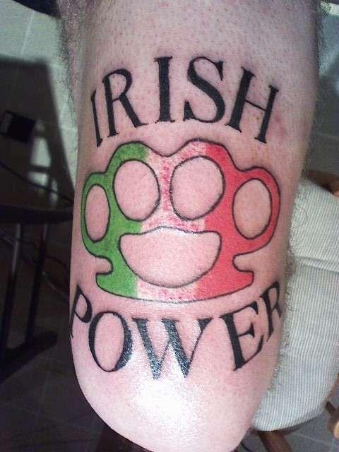Irish Power with irish flag brass knuckles - #talesofthetatt #tattoo ...