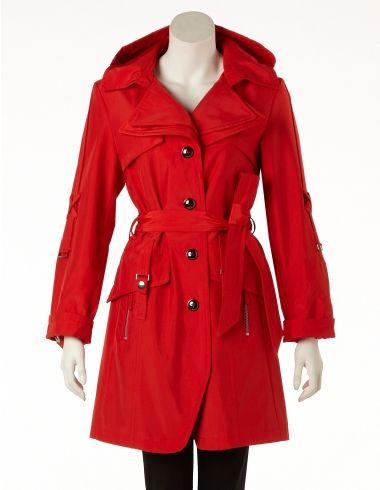 Poppy Red Trench Coat with Hood