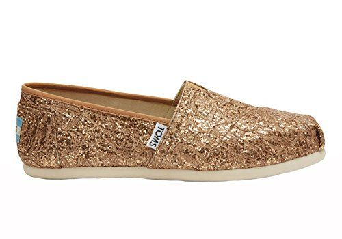 f4b383068ca TOMS Classics Casual Shoes in Rose Gold Lace Glitz