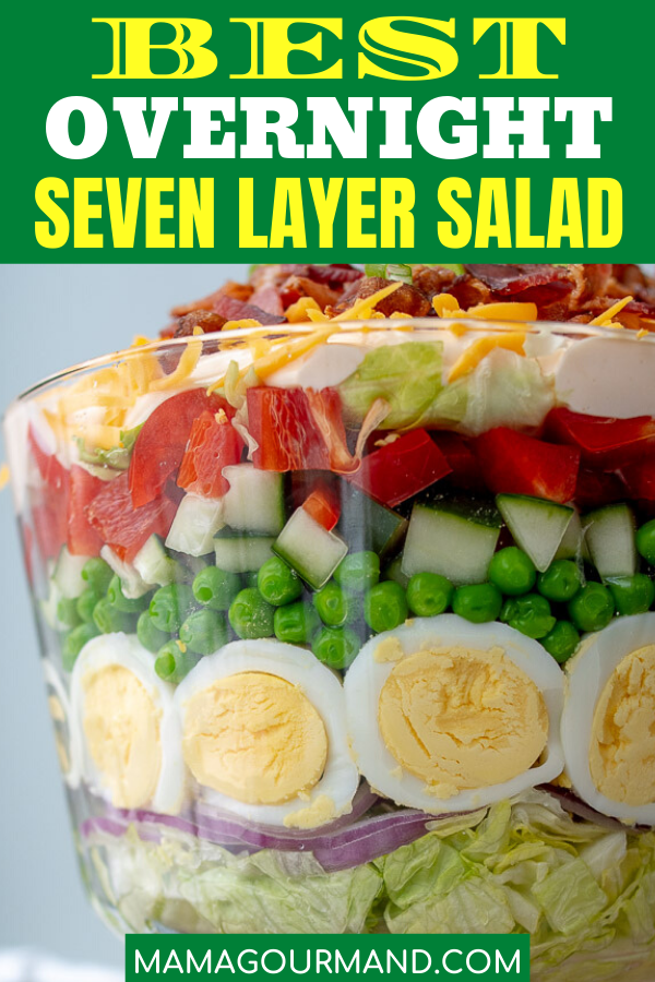 7 Layer Salad Overnight Layered Salad With Creamy Tangy Dressing Recipe In 2020 Layered Salad Recipes Layered Salad Seven Layer Salad