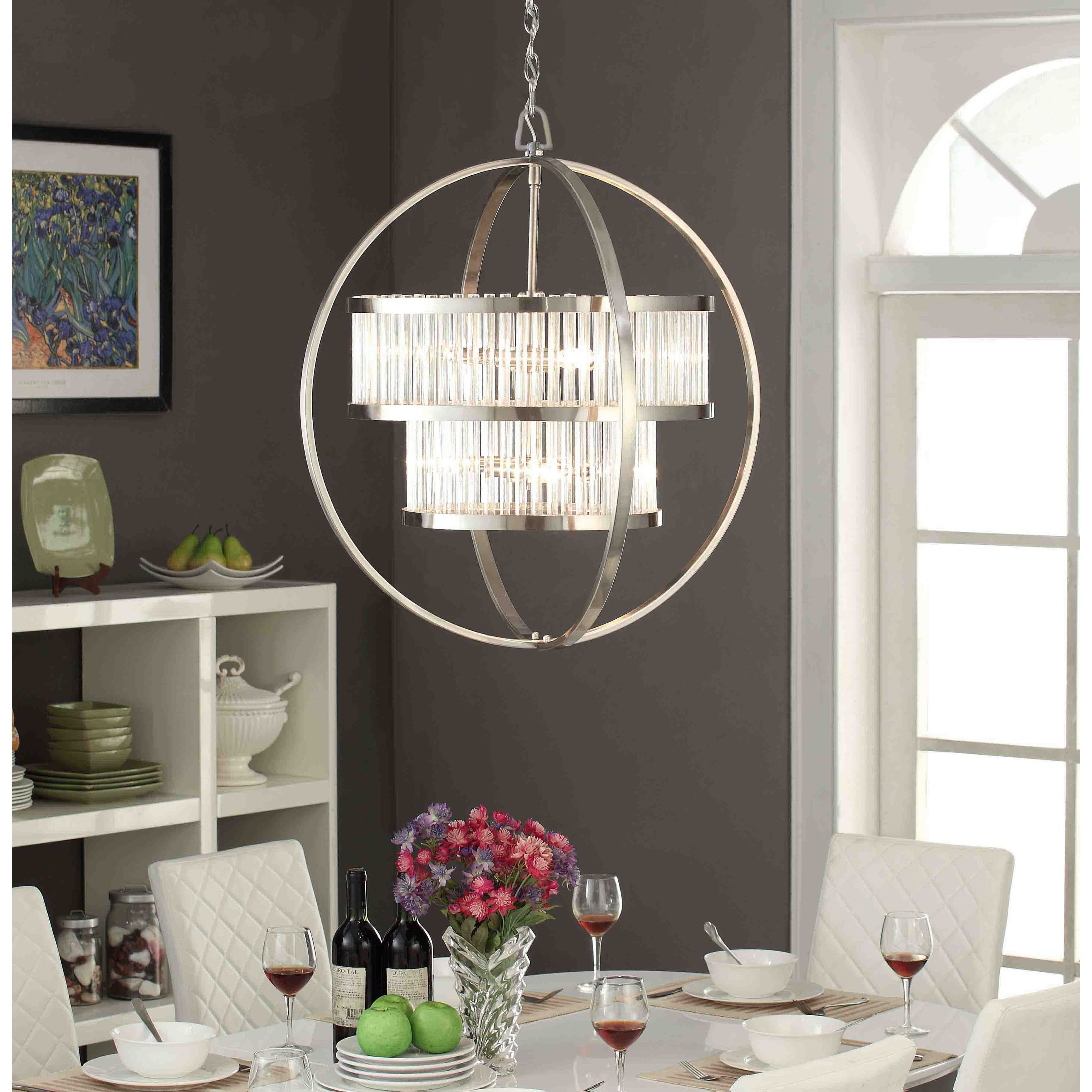 Illuminate Your Home With Elegance Featuring This Nickel Finished 6 Light Hanging Fixture Professional