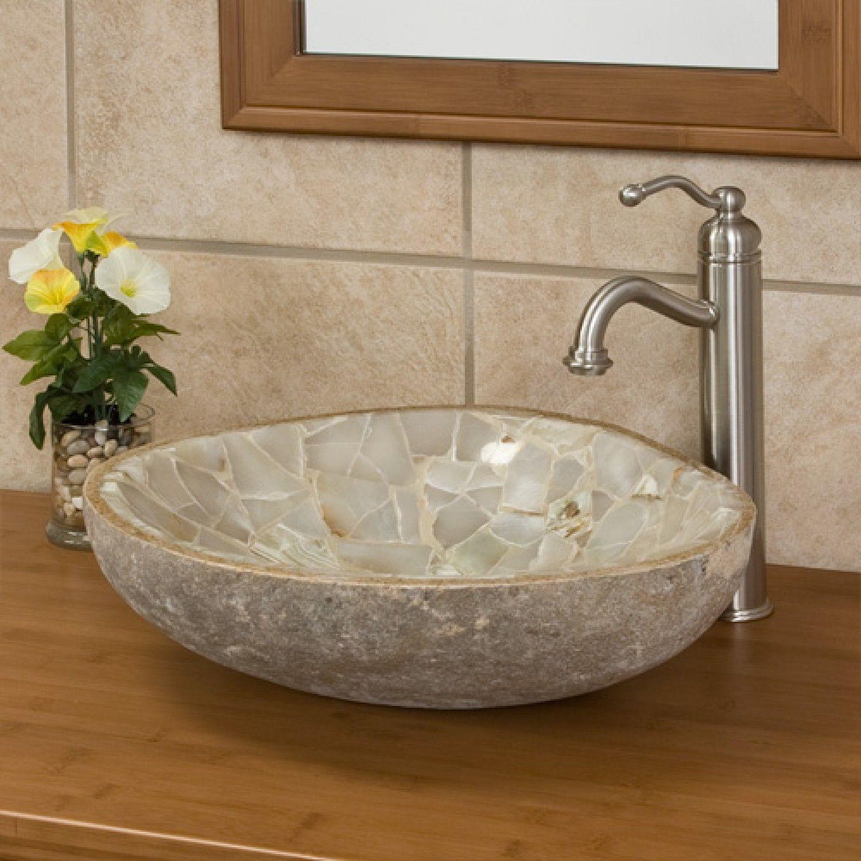 Green Onyx Mosaic Natural River Stone Vessel Sink Bathroom Sinks