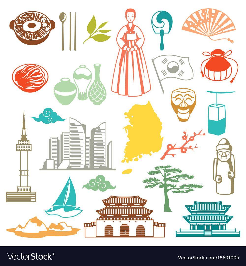 Korea icons set vector image on(이미지 포함) 그림, 한국, 여행