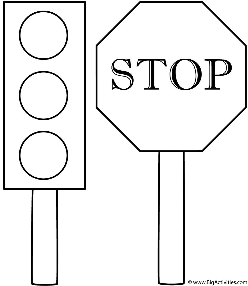 Stop Sign Coloring Page Traffic Light And Stop Sign
