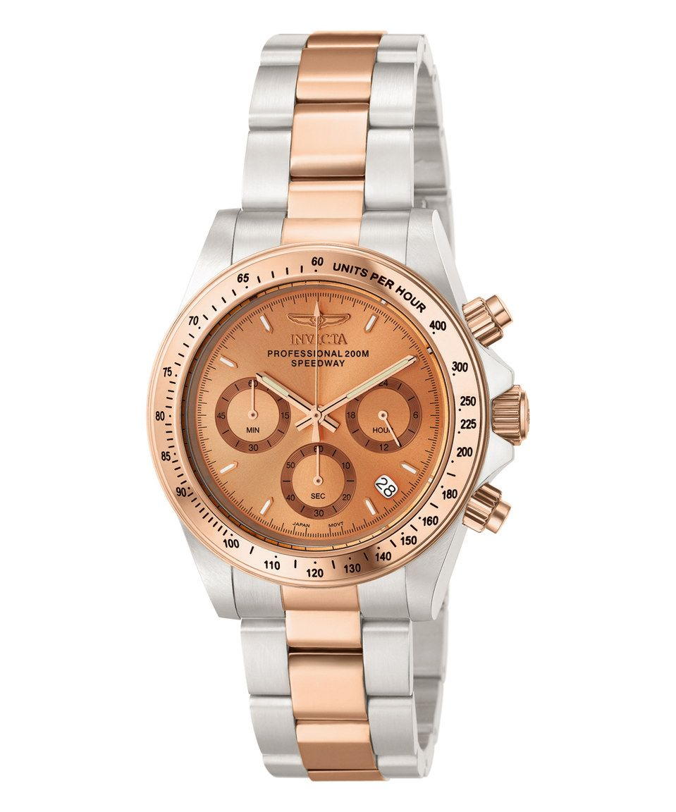 Another great find on #zulily! Rose Gold & Silver Speedway Chronograph Watch by Invicta #zulilyfinds