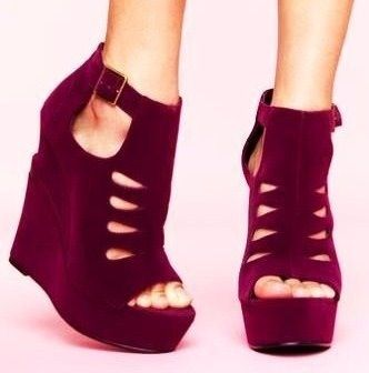 Maroon wedges. | Women shoes, Fabulous shoes, Wedge shoes