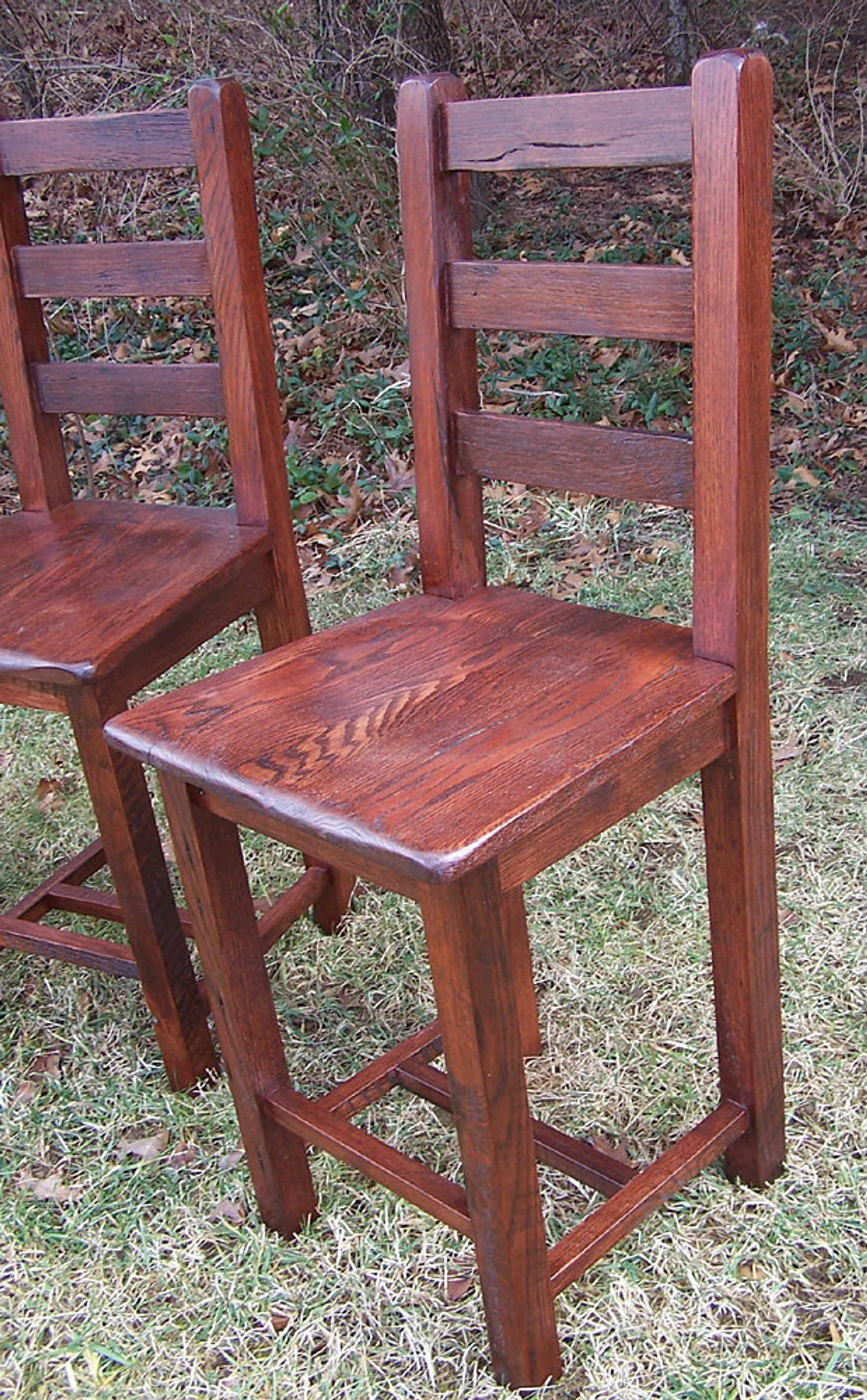 Bar height dining chairs from reclaimed antique oak