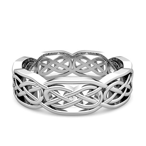 Customized Celtic Knot Wedding Band Ring For Men And Women In Your Choice Of Or White Yellow Rose Gold Platinum