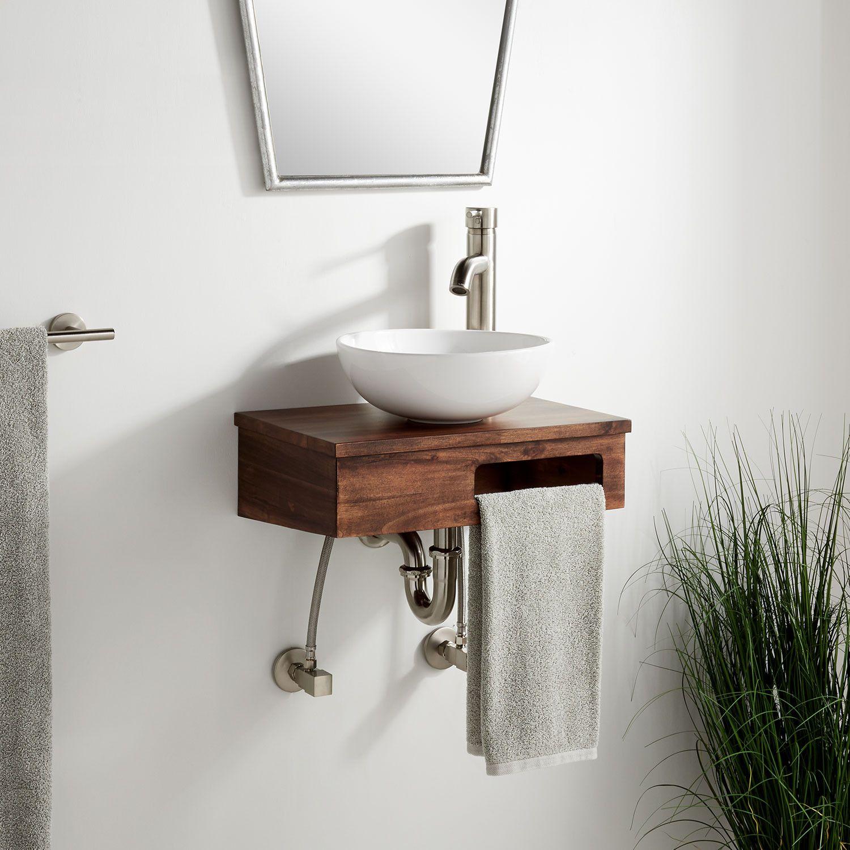 18 Nadiya Wall Mount Vessel Sink Vanity Chestnut Brown Vessel Sink Vanity Vanity Sink Small Bathroom Sinks [ 1500 x 1500 Pixel ]