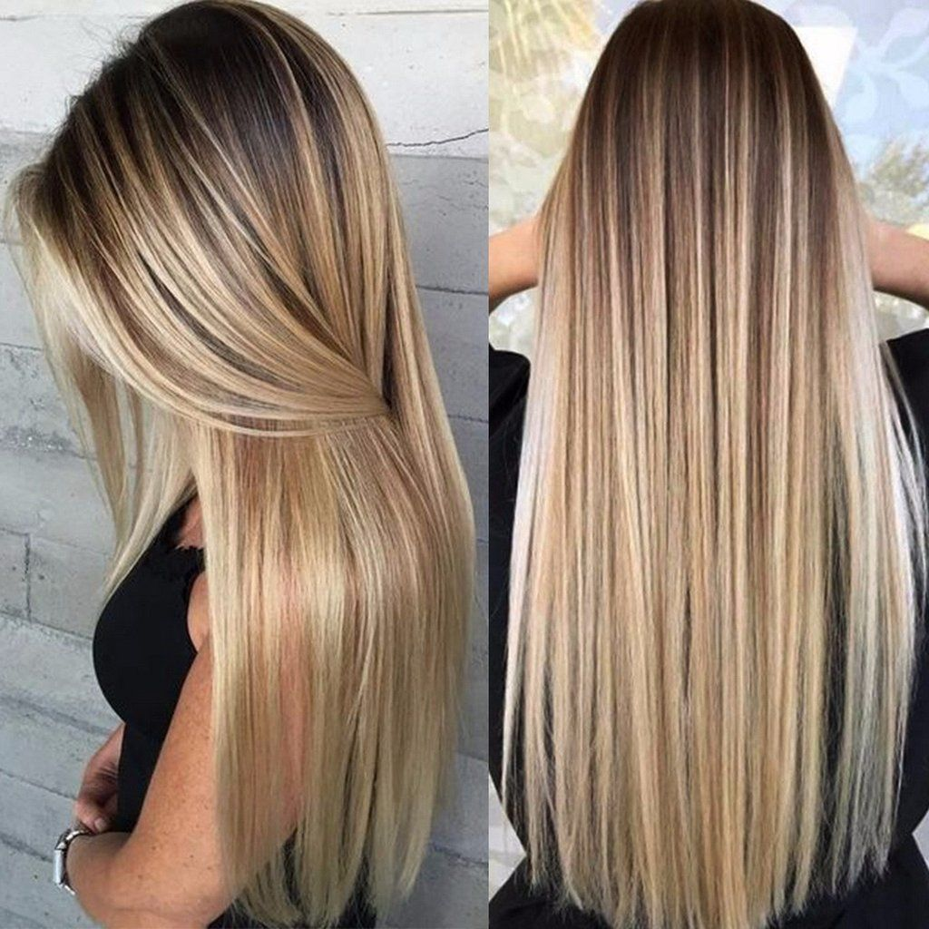 Blonde Ombre Natural Long Straight Synthetic Wig With Bangs,26inches