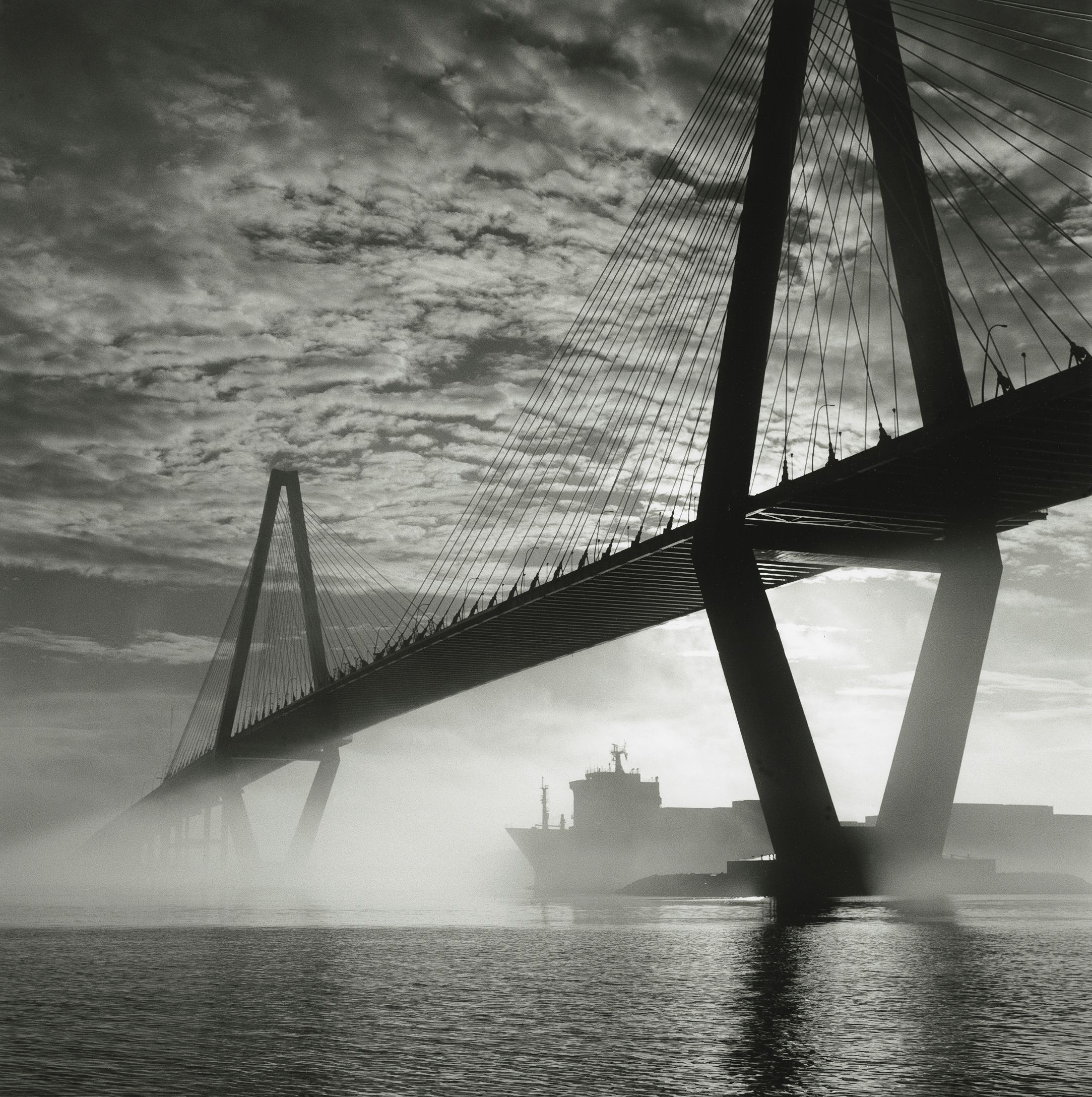 Beautiful black and white picture taken of arthur ravenel bridge charleston