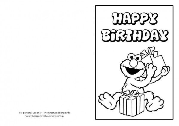 Elmo Birthday Card Printable Could Use As A Coloring Page