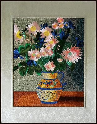 ORIENTAL ASIAN ART CHINESE SU EMBROIDERY PAINTING-FLOWERS IN VASE