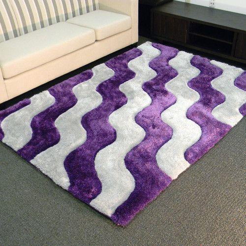 Shaggy Purple Ivory Abstract 2 Tone Wavy Area Rug Purple Area