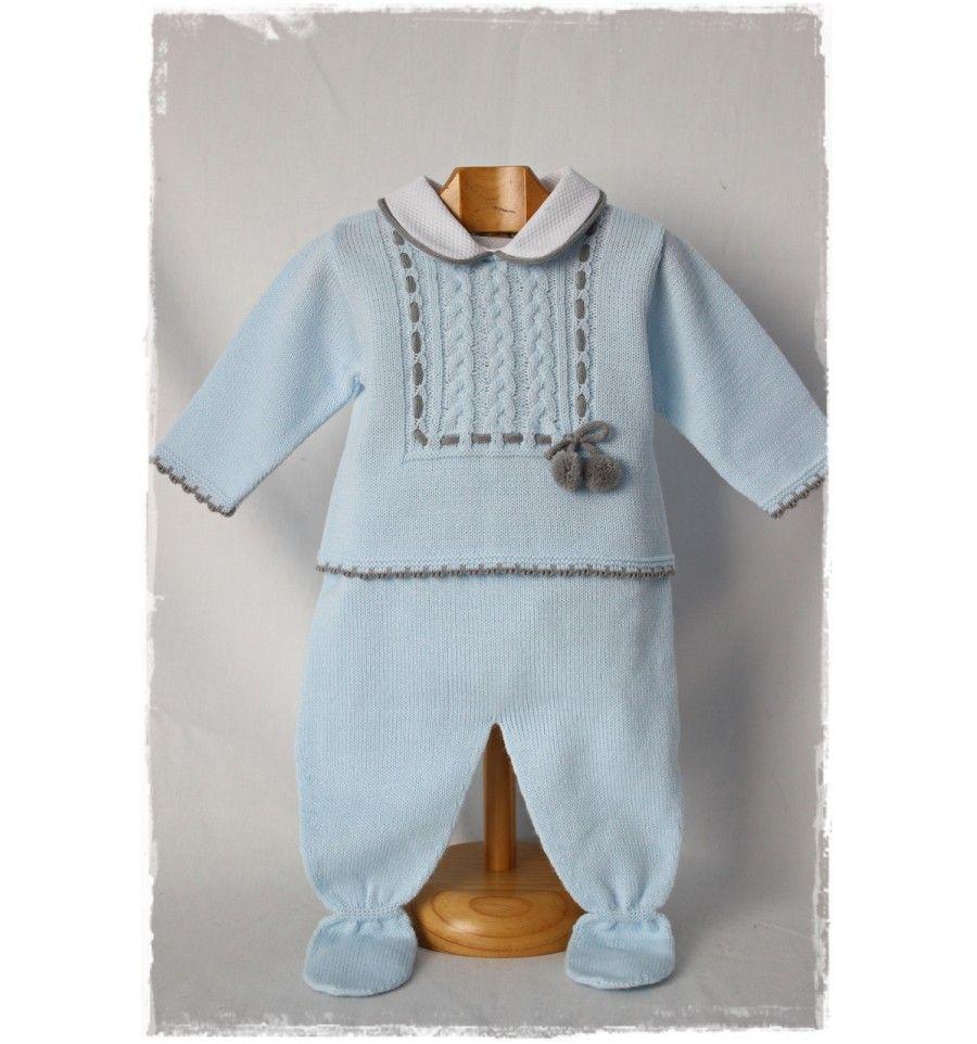 Precioso conjunto de dos piezas, en azul con detalles en gris. Ideal `para regalo. www.papillonmoda.es