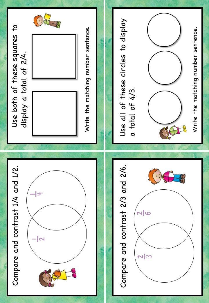 Open Ended Word Problems Fraction Task Cards Grade 4 AUS UK