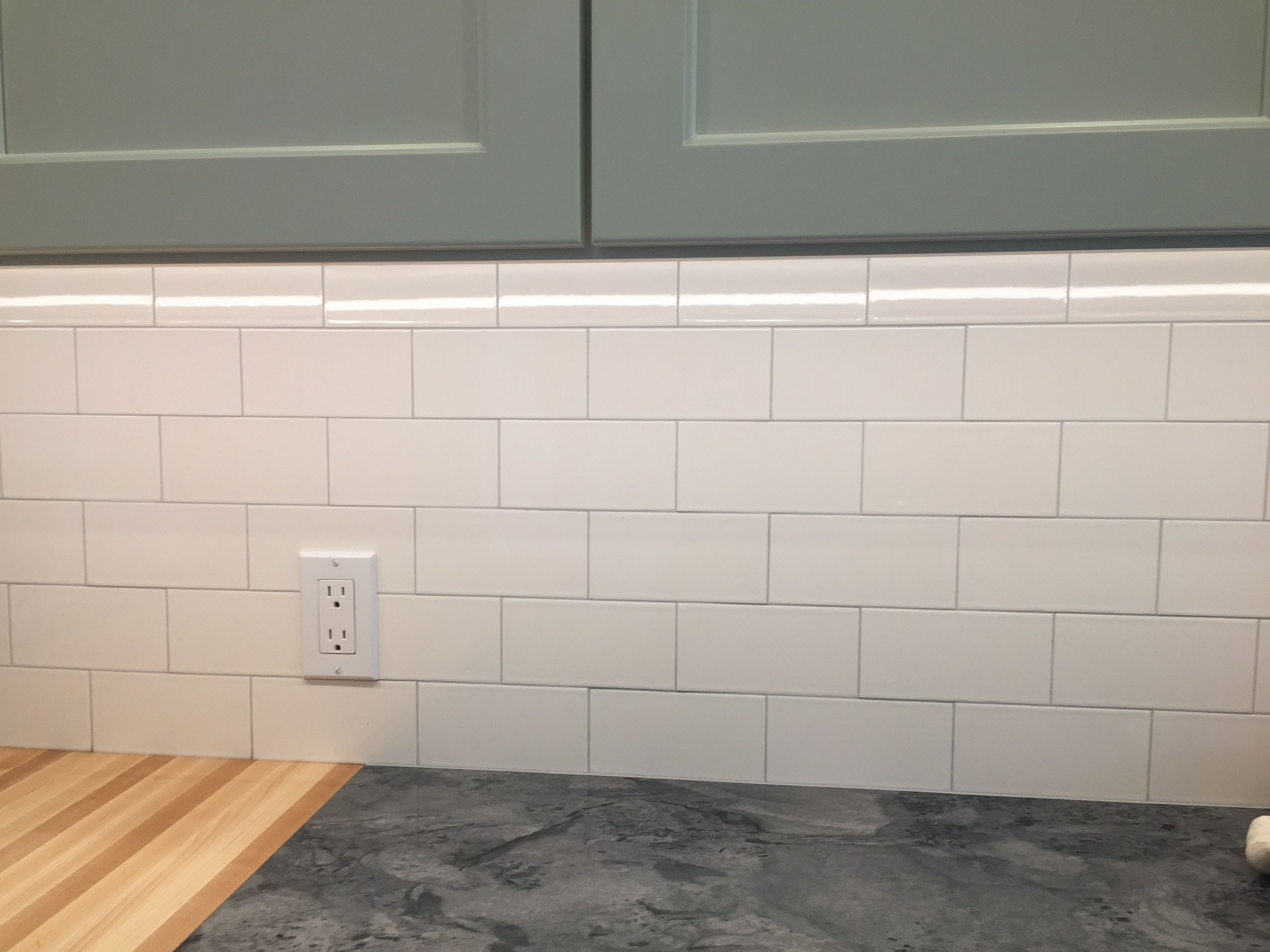 Heritage Tile 3x6 Subway In Glass White With Custom Rolling Fog Grout Green Kitchen Master Bathroom Grout