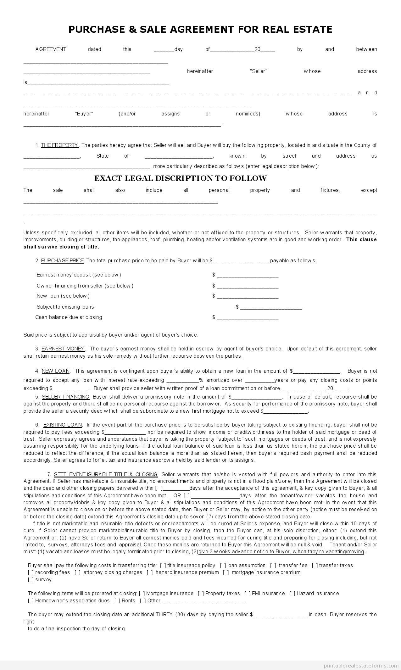 Sample Printable sales contract for buying subject 2 Form – Free Printable Real Estate Sales Contract