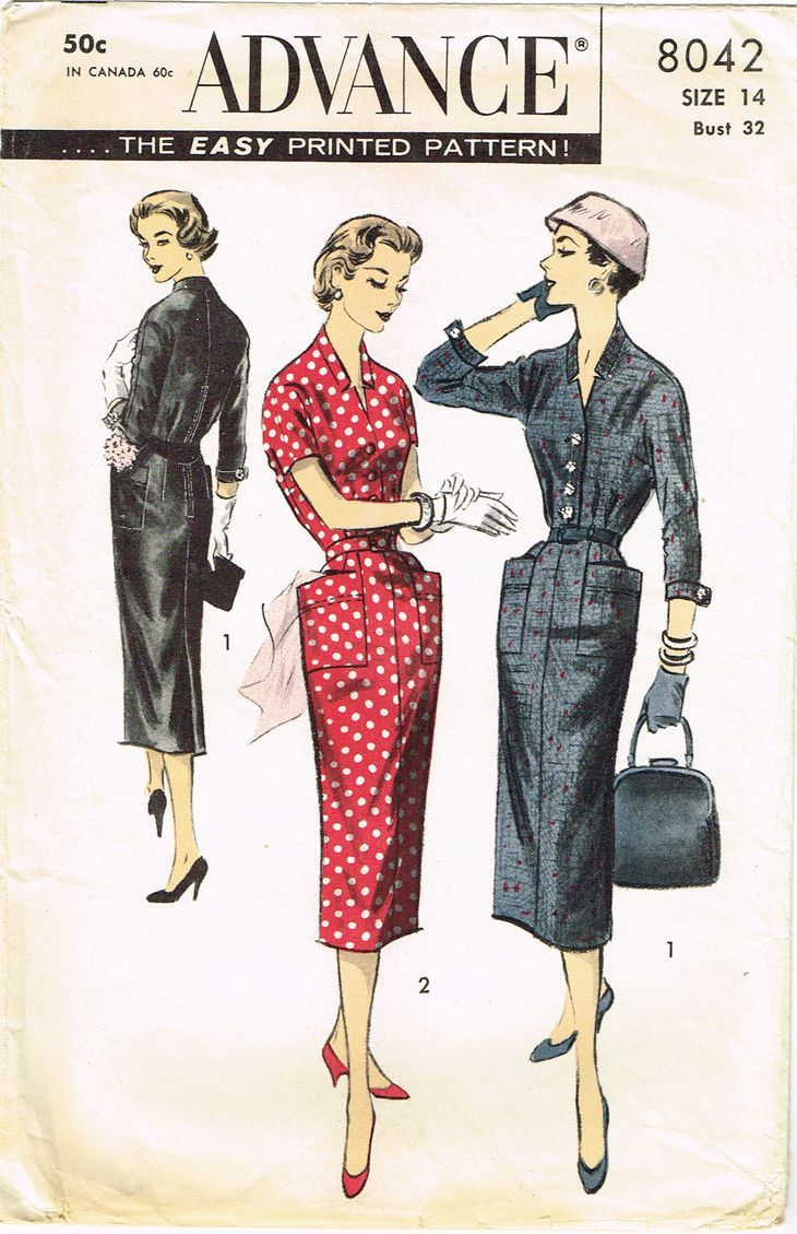 Advance pattern missesu dress pattern dated factory folded