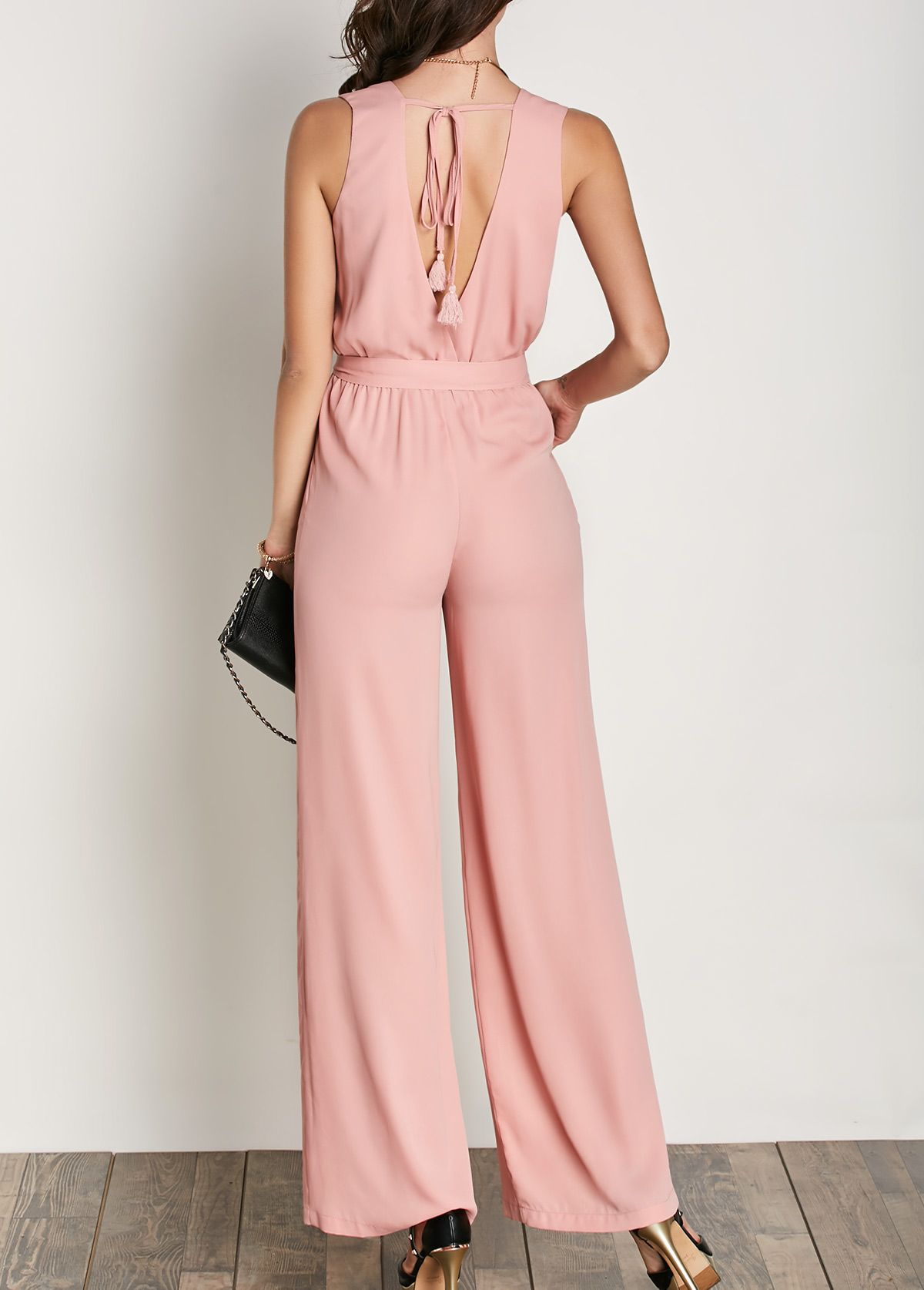 V Neck Pink Sleeveless Belted Jumpsuit | Palazos, Pasaporte y Informal