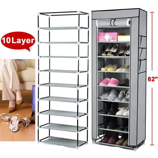 Gery Portable 10 Layer Shoe Rack Shelf Storage Closet Organizer Cabinet Cover Shoe Rack With Shelf Shoe Rack Storage Closet Organization