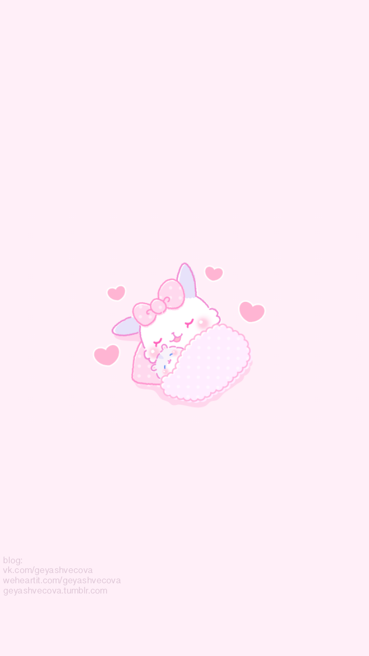 Background Pink And Cute Afbeelding Bunny Wallpaper Cute Pastel Wallpaper Kawaii Wallpaper