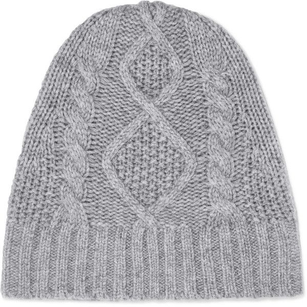 Frame Cable-knit cashmere beanie (£92) via Polyvore featuring accessories, hats, grey, cashmere beanie, beanie cap, cashmere beanie hats, gray beanie hat and beanie cap hat