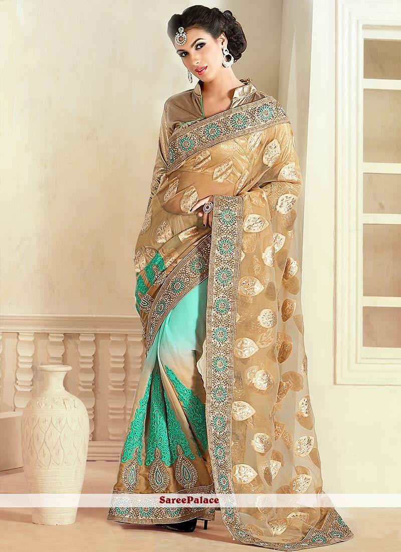 Brown And Sky Blue Banarasi Jacquard Half And Half Saree
