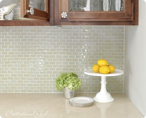 Kitchen Backsplash Green Glass Tile kitchen backsplash. light green glass subway tile. love subway