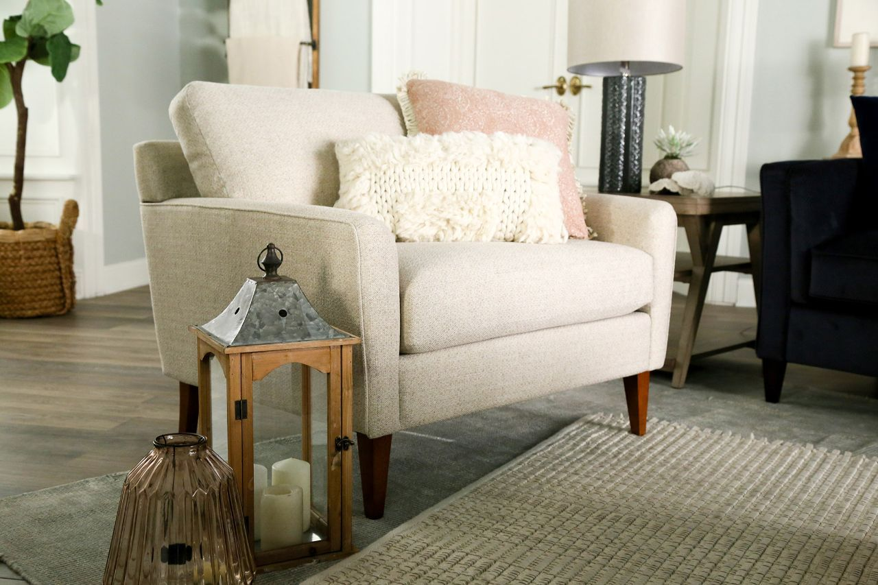Our Mckinney Chair And A Half Offers Extra Room For Relaxing Without Compromising Its Streamlined Design A Nod Chair And A Half Living Room Remodel Furniture