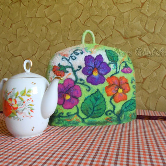 Felted Tea Cosy Wool Coffee Pot Teapot Cover Warmer Art