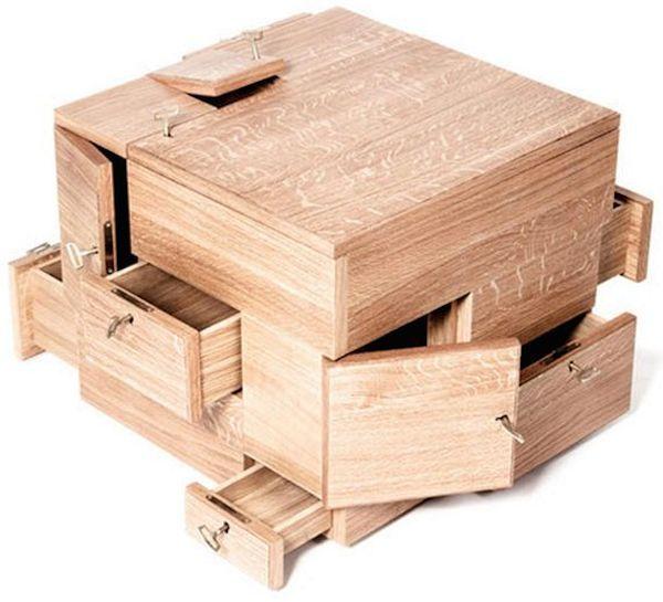 Puzzle Cube Oak Storage System Puzzle Box Cube Storage Secret Box
