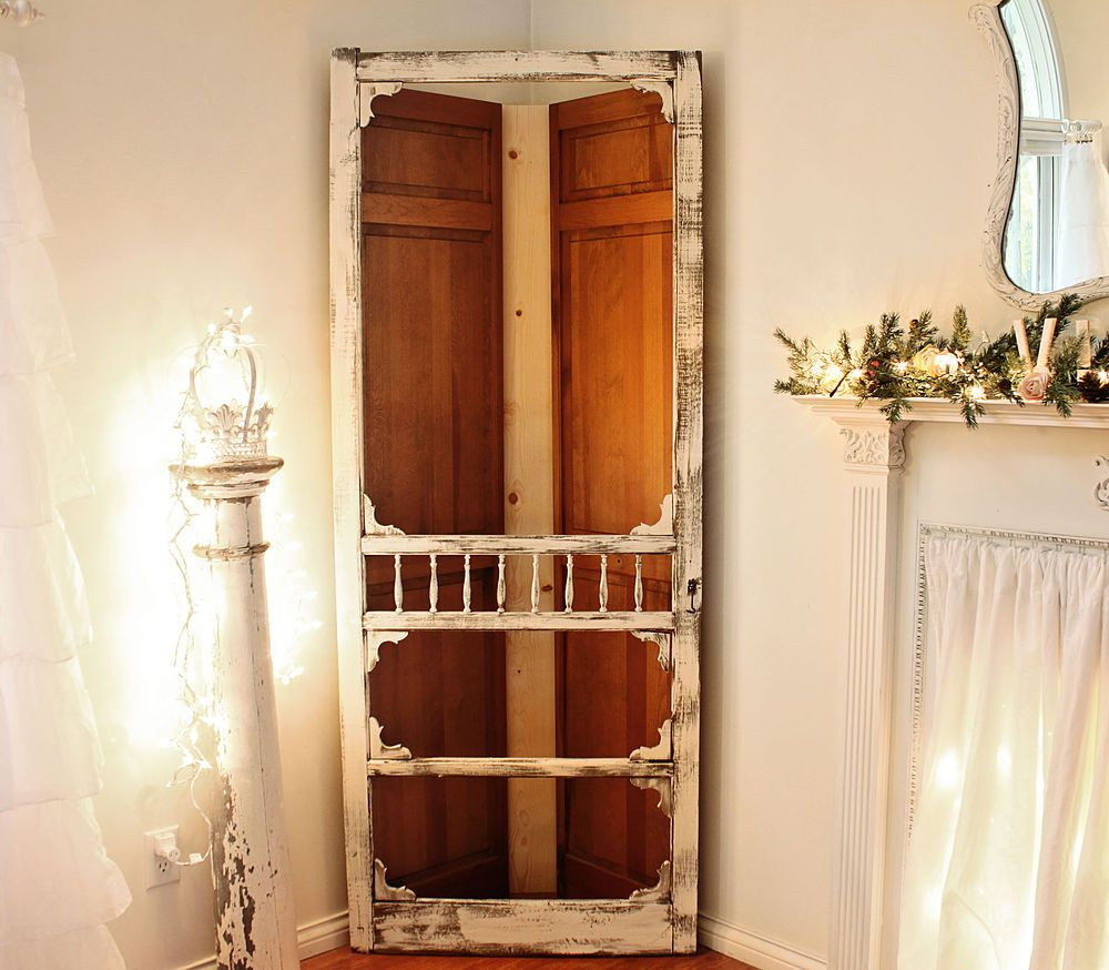 Screen Door Corner Cabinet, Bedroom Ideas, Doors, Home Decor, Kitchen  Cabinets, This Shows The Closet Doors And 1x6 Board Before Painting