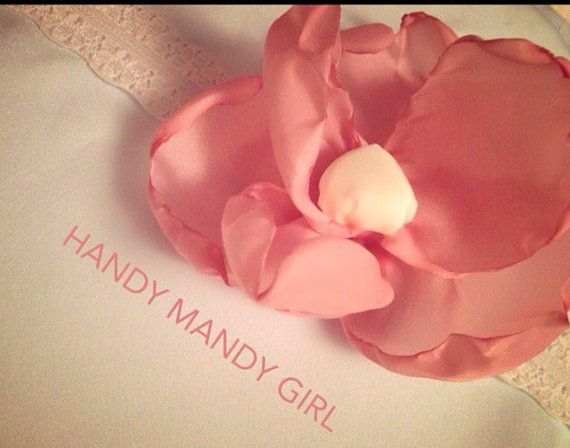 Gorgeous dirty pink-blush flower headband, flower girl lace headband on Etsy, $15.00