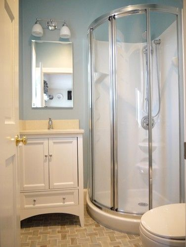 Small Showers Design Pictures Remodel Decor And Ideas Page 53 Rounded Shower Stall Small Basement Bathroom Bathroom Layout Small Full Bathroom