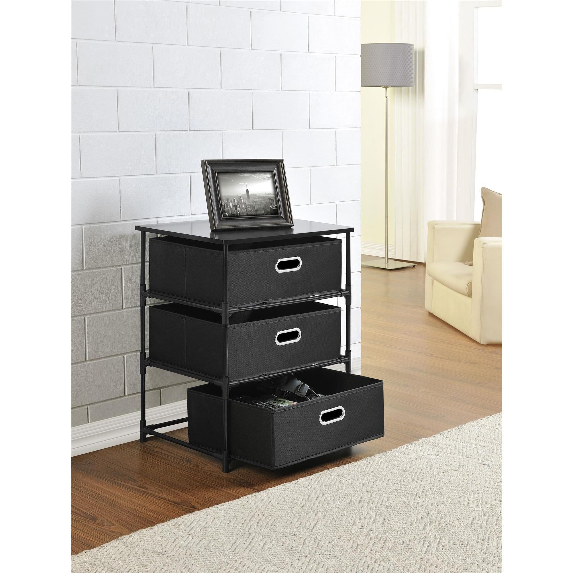 Altra sidney black bin storage end table bin storage end table