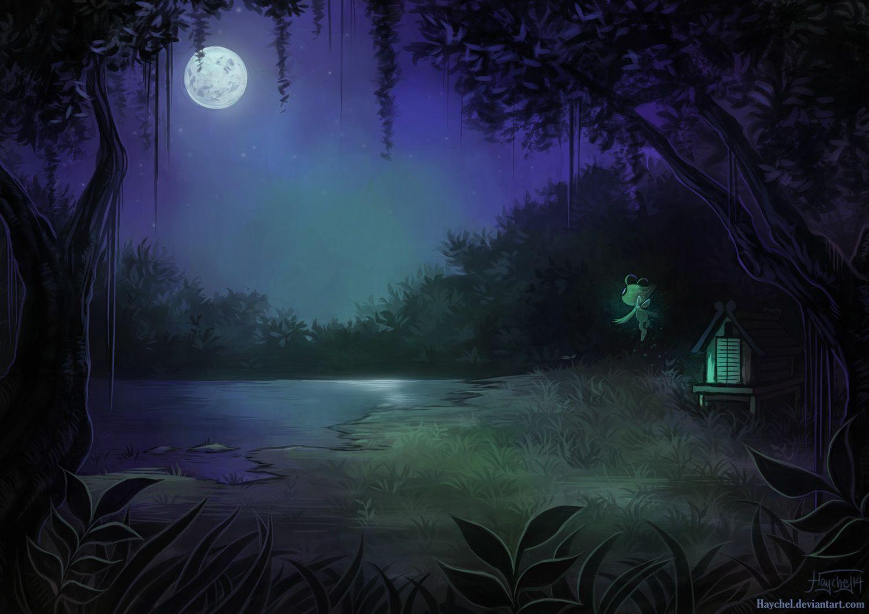 арты ночь в лесу