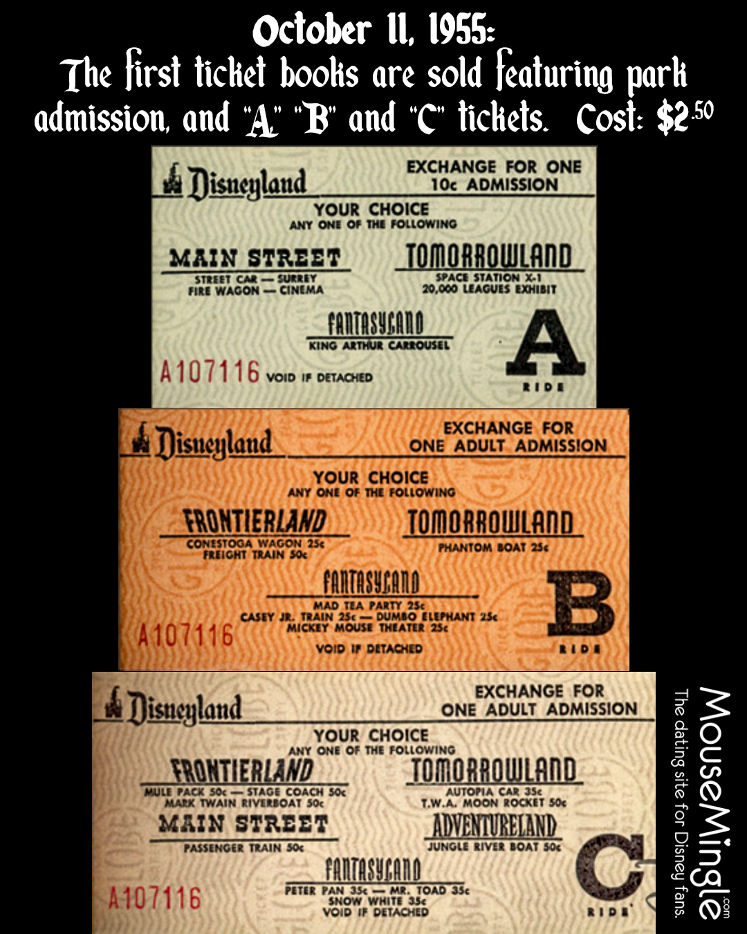 Today In Disney History October 11 1955 The First Ticket