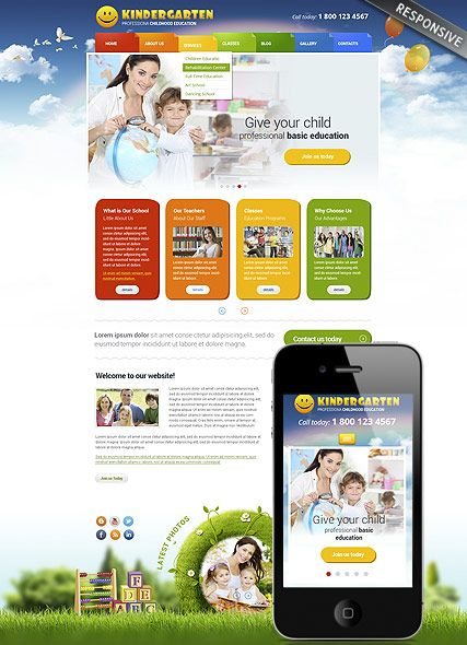 Kindergarten Website Template Bootstrap Website Design Responsive - Website templates wordpress