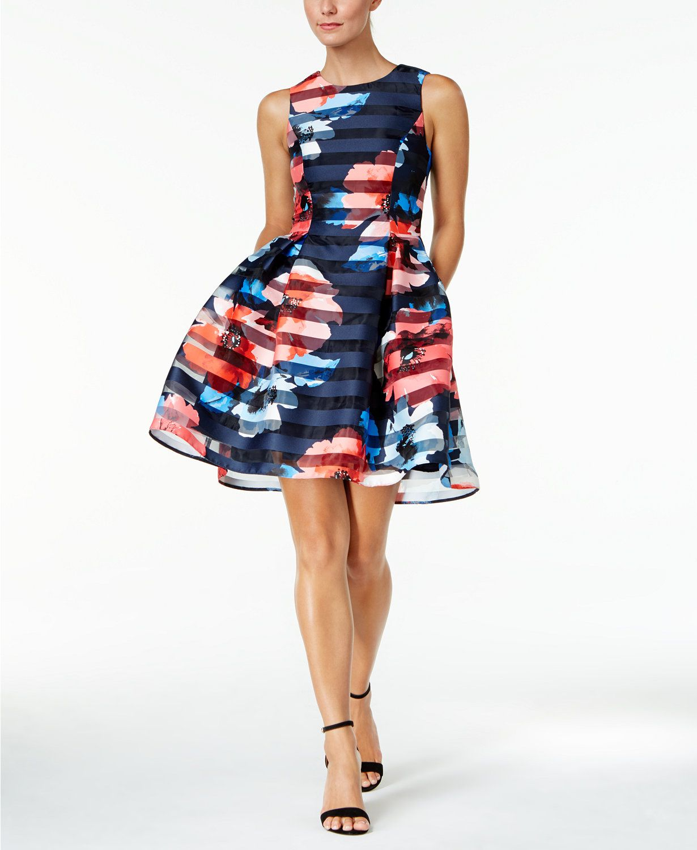 Vince Camuto Floral Striped Fit Amp Flare Dress Macys Com